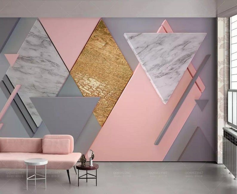 3d Abstract Graphics Marble Grain Pink Graphics Wallpaper Removable Self Adhesive Wallpaper Wall Mural Vintage Art Peel And Stick Wall Painting Living Room Bedroom Wall Designs Geometric Wall Paint