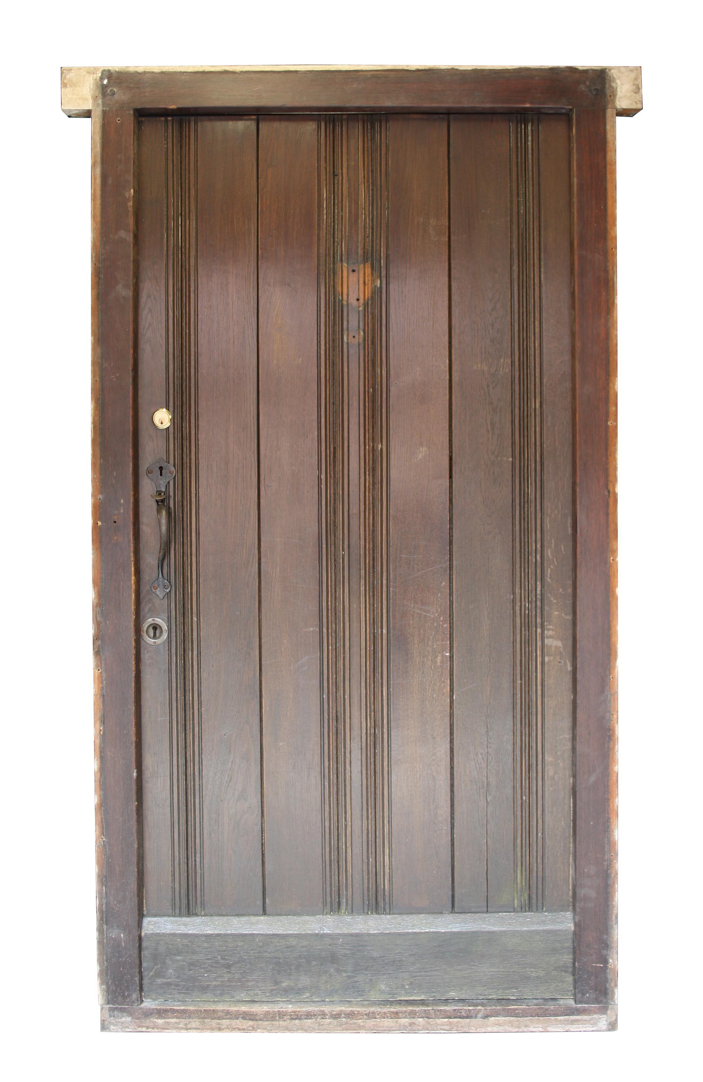 Solid Oak Front Door With Frame C 1910 Uk Architectural Heritage