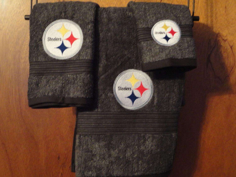 Pittsburgh Steelers Football - Embroidered Bath Towel Set - Bath Sheet,  Hand Towel and Washcloth