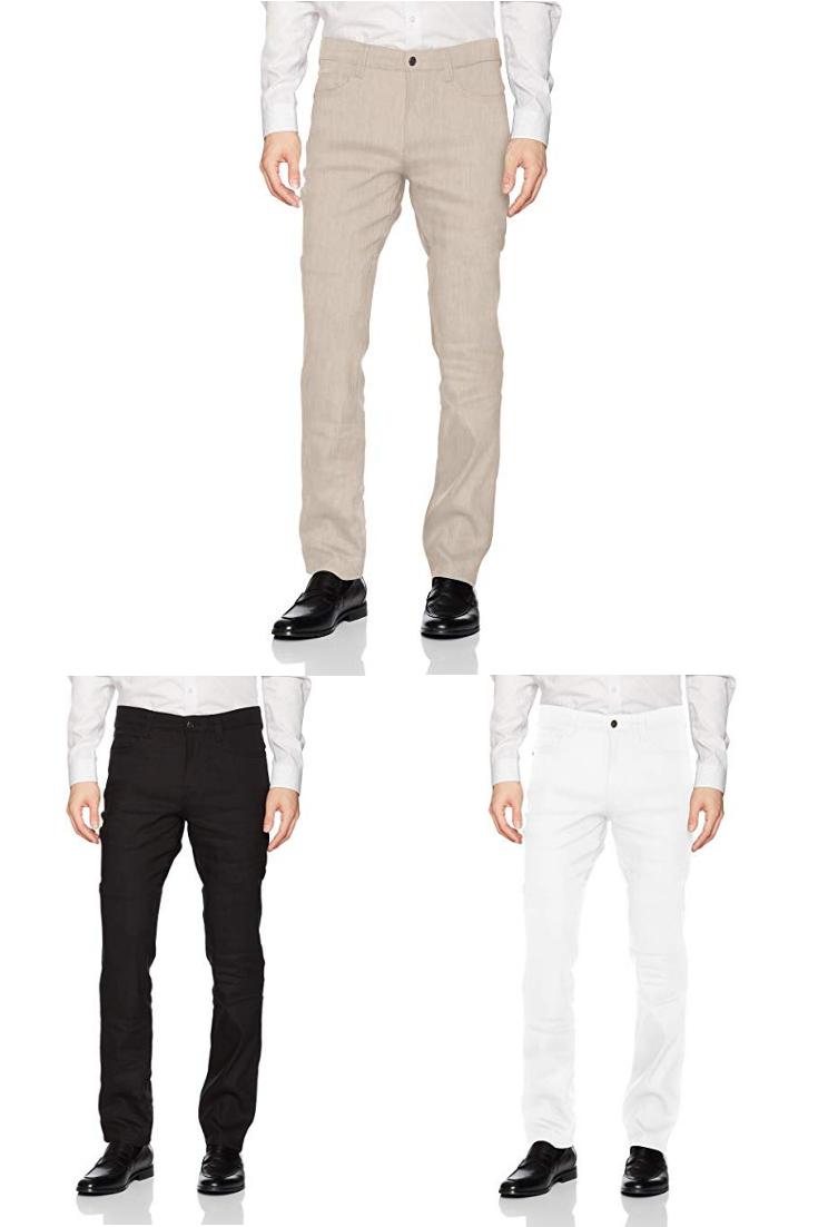 3f40bdaa13 Cubavera Men's Linen-Blend 5-Pocket Pant with Stretch|men black linen pants
