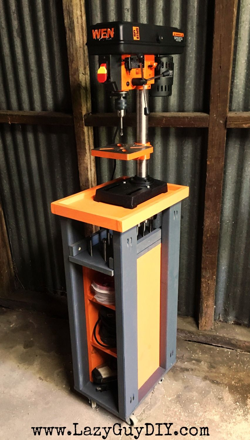 rolling drill press cart with bonus storage workshop upgrades