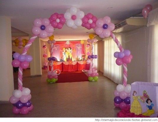 decoracion en globos para fiestas infantiles de princesas