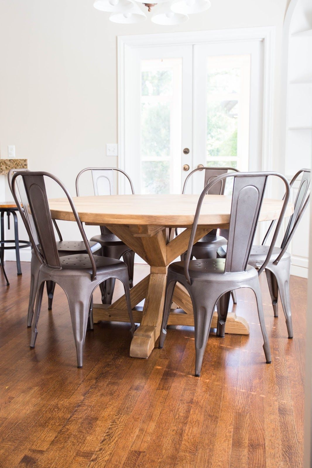 restoration hardware kitchen table white laminate cabinets diy round and gray wash stain
