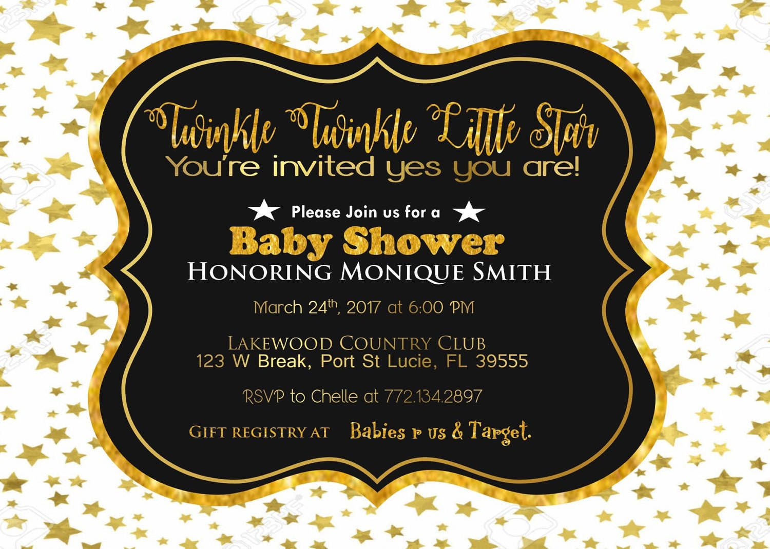 Gold color cardstock paper 5x7 - Black White And Gold Twinkle Twinkle Little Star Baby Shower Invitation 25