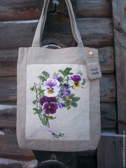 ca6965db6f4a Купить или заказать Льняная сумка с ручной вышивкой 'Анютины глазки'. в  интернет-