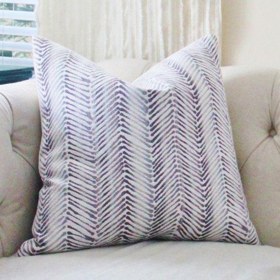 Designer Purple Ombre Lilac Chevron Pillow by Motif Pillows on Etsy, $46.00