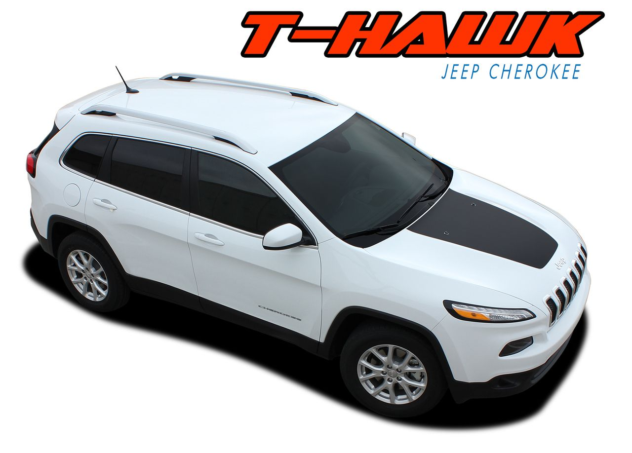 T Hawk 2014 2019 Jeep Cherokee Trailhawk Center Hood Blackout Vinyl Graphics Decal Stripe Kit Jeep Cherokee Jeep Cherokee Trailhawk Vinyl Graphics