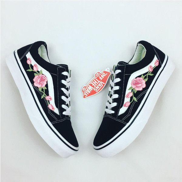 30ef2d0787 Rose Vans Custom Vans Rose Embroidered Vans Women s Sneakers Old Skool...  ( 104) ❤ liked on Polyvore featuring shoes
