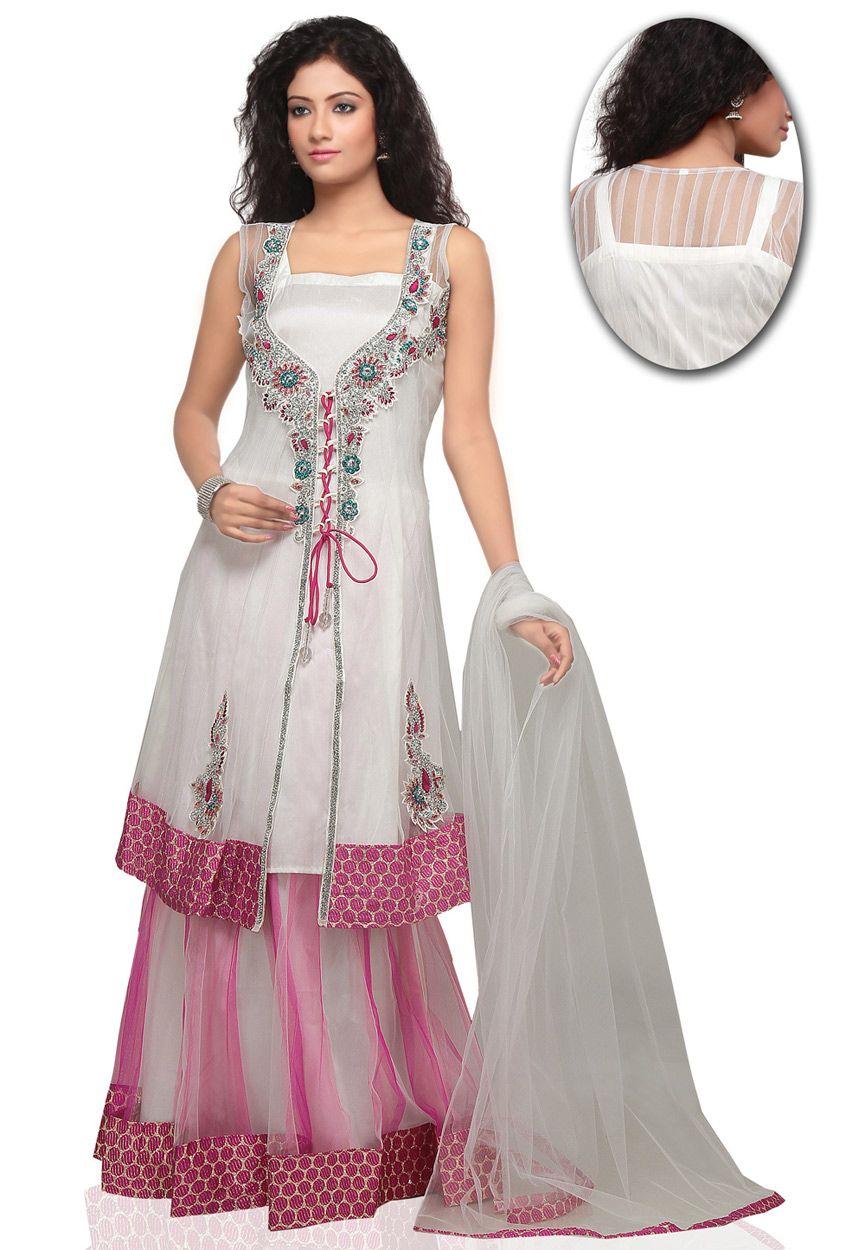Off White and Pink Net Lehenga Choli With Dupatta Online Shopping: LGF2C