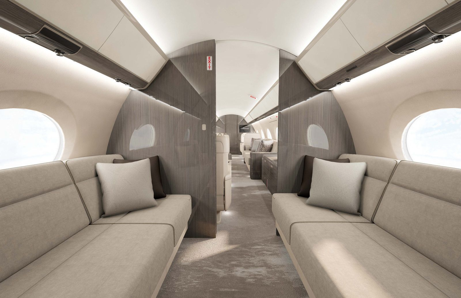 Private jet interior furnished like a vintage train aviation - Aircraft