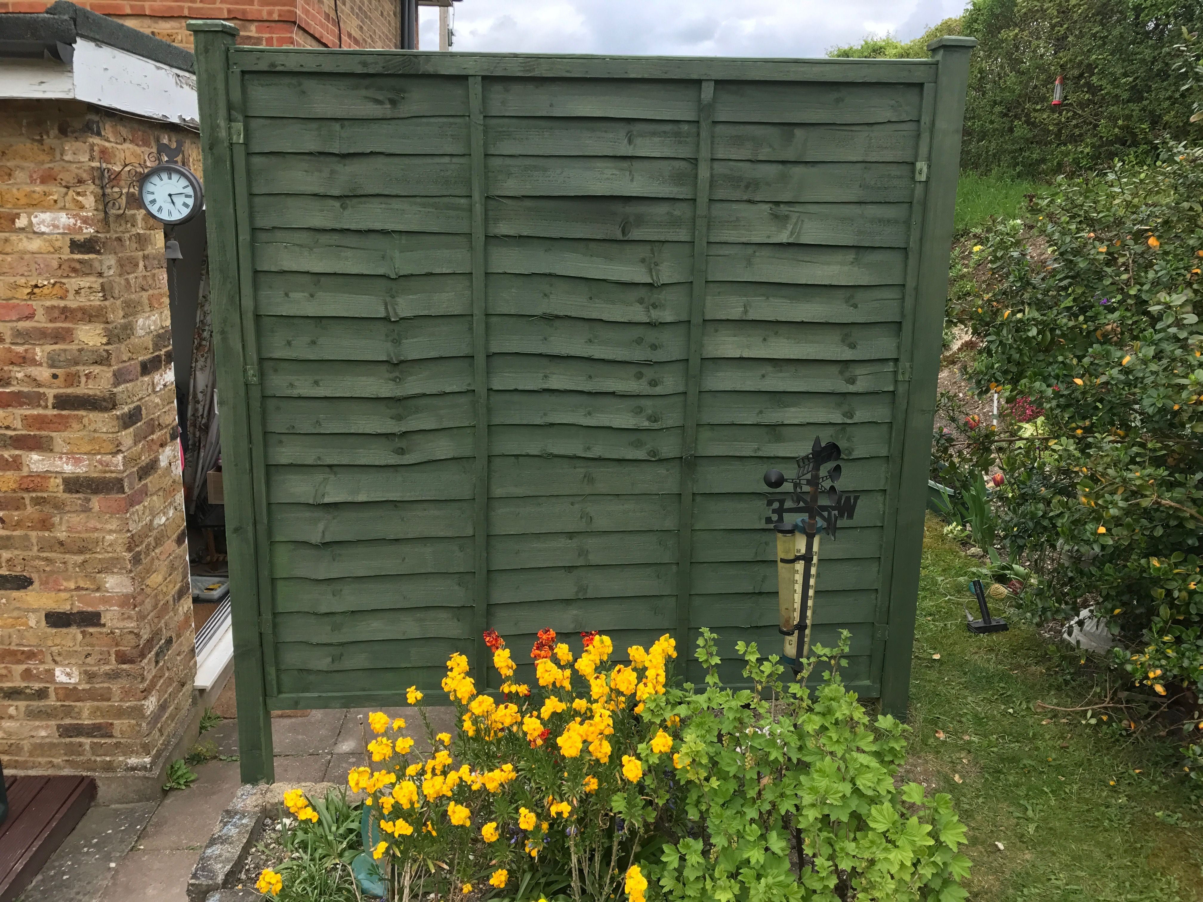 Cuprinol Woodland Green colour on fence | My garden shed makeover ...