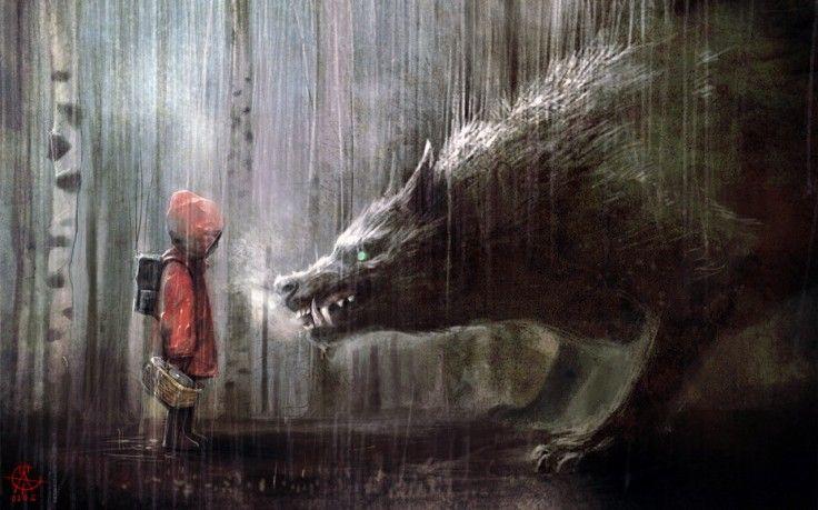 Fantasy Art Little Red Riding Hood Hd Wallpaper Desktop Background