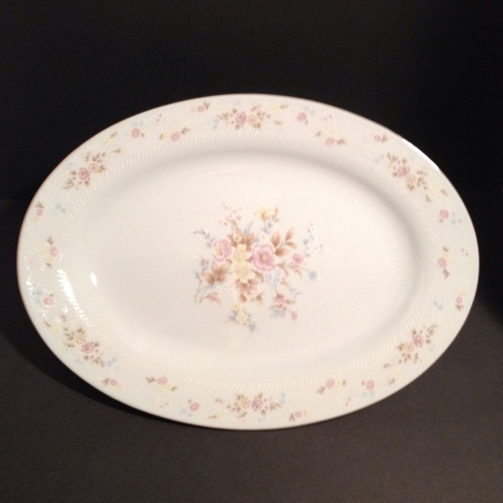 Crescent Fine China Jie Pai White Floral Oval Porcelain Platter ...