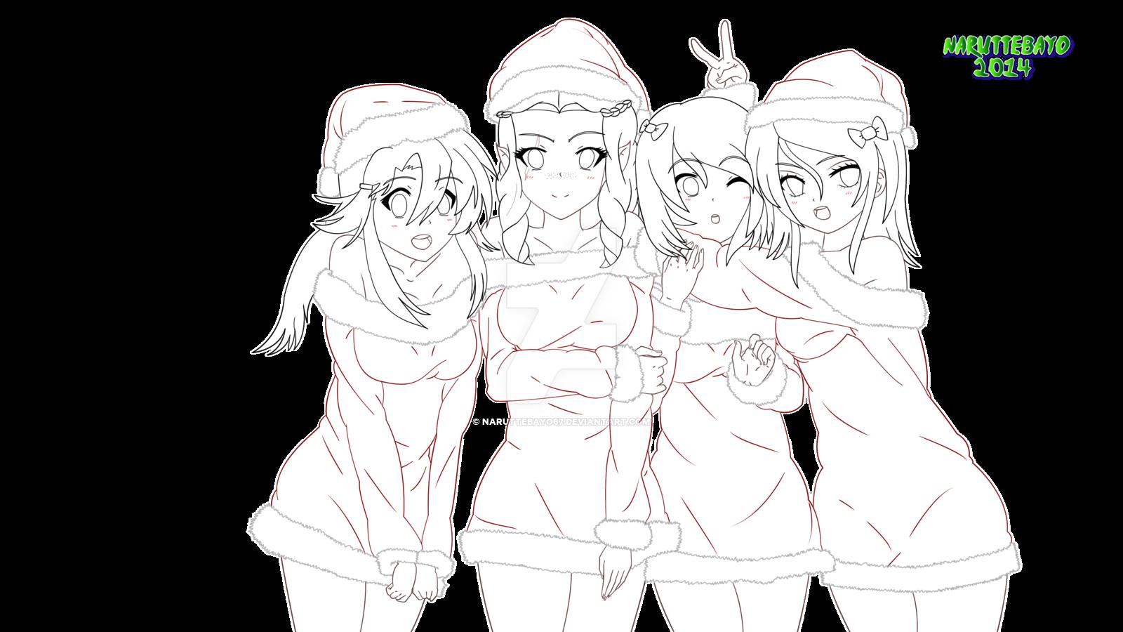 [lineart] - Oc's Christmas Girl 2014 by Naruttebayo67