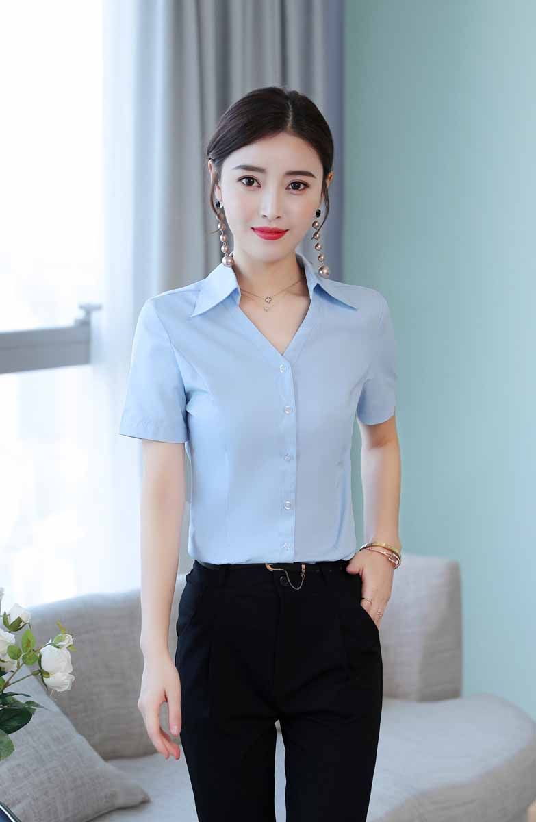 Blue V Neck Short Sleeve Shirt In Plain Color Fashion Women Shirts Blouse Women