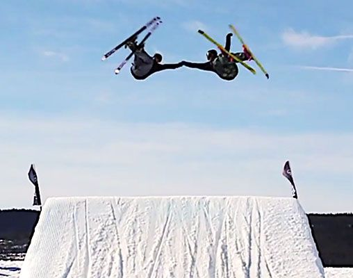 These synchronized skiers connected for well-timed, mid-air fist bump - Freeskier