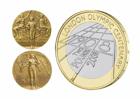 This design for the London Olympic centenary coin uses as a reference the medals struck for the Olympic Games of 1908.