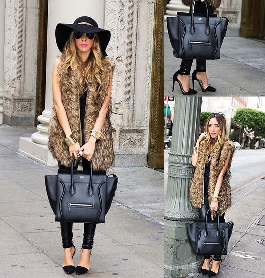 Celine Bag Luggage Handbags Casual Outfits Fur Hat