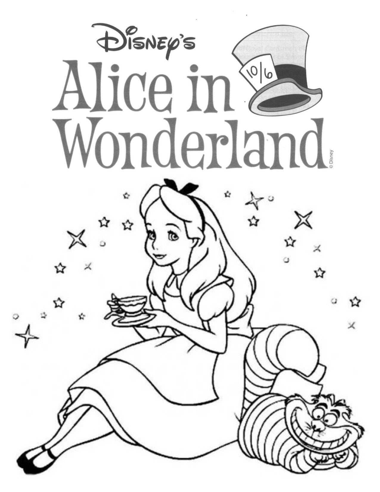 Alice In Wonderland Disney Coloring Pages Disney Princess Coloring Pages Cartoon Coloring Pages