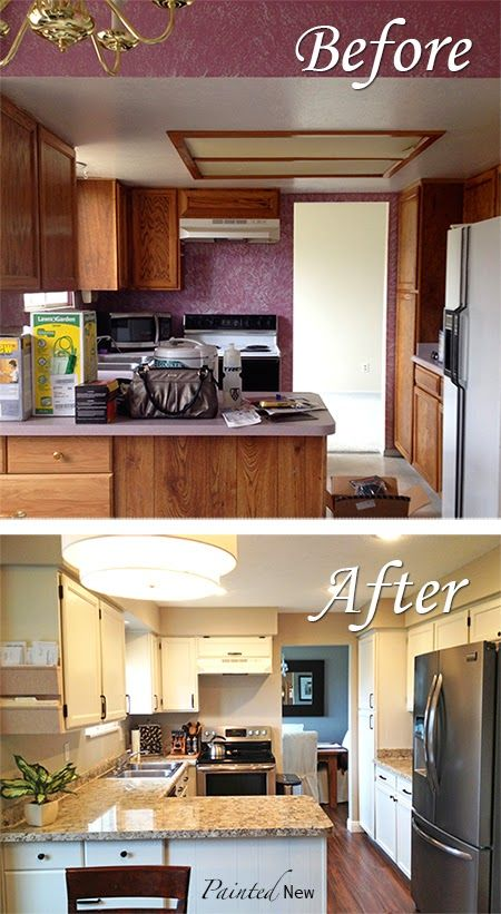 Kitchen Makeover!! Painted cabinets and counters with step by step ...