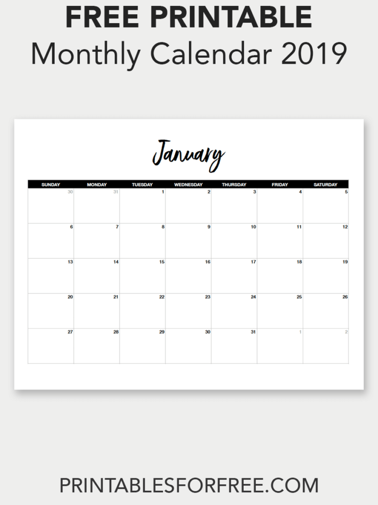 Printable January 2019 Calendar (Minimal | Printable Calendar