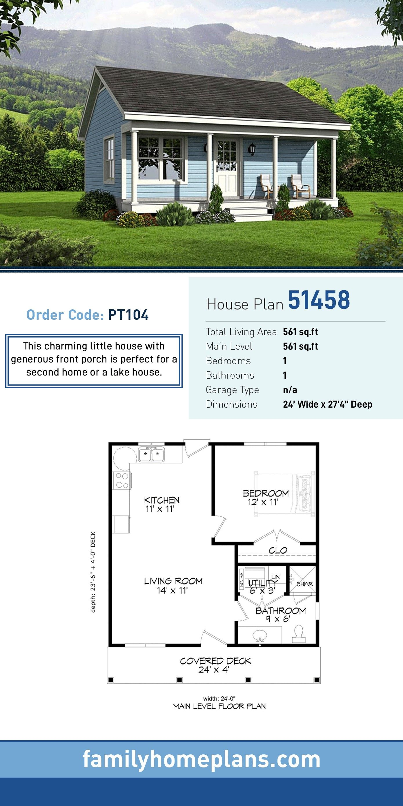 Tiny House Plan 51458 Total Living Area 561 Sq Ft 1