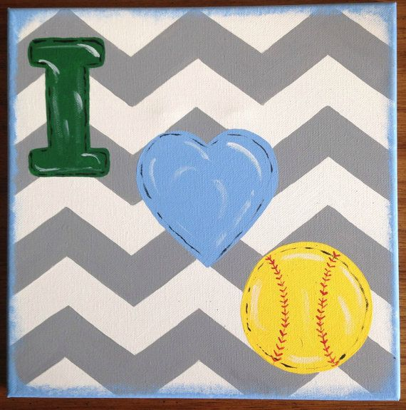 I Heart Softball Painting by SouthernFlairStore on Etsy