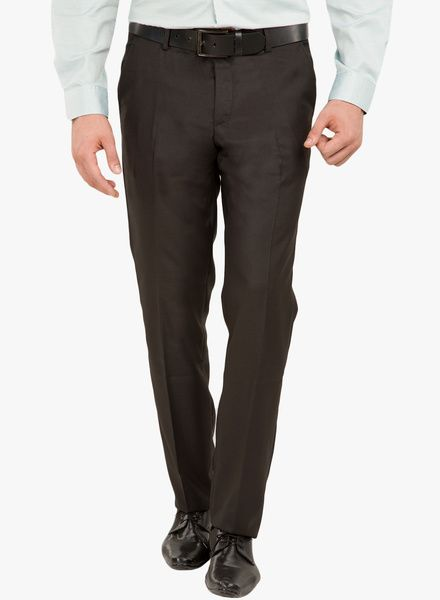 4b9f6a5a5a5 Buy Black Coffee Black Solid Formal Trousers for Men Online India