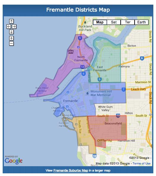 Fremantle Boundaries Map Fremantle Western Australia Fremantle