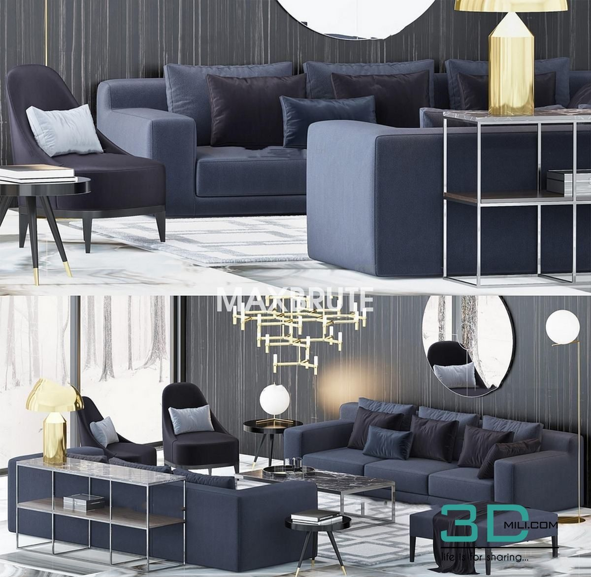0f571a04e196 Luxury Sofas- Luxury Armchairs - 3D Mili - Download 3D Model - Free 3D  Models - 3D Model Download