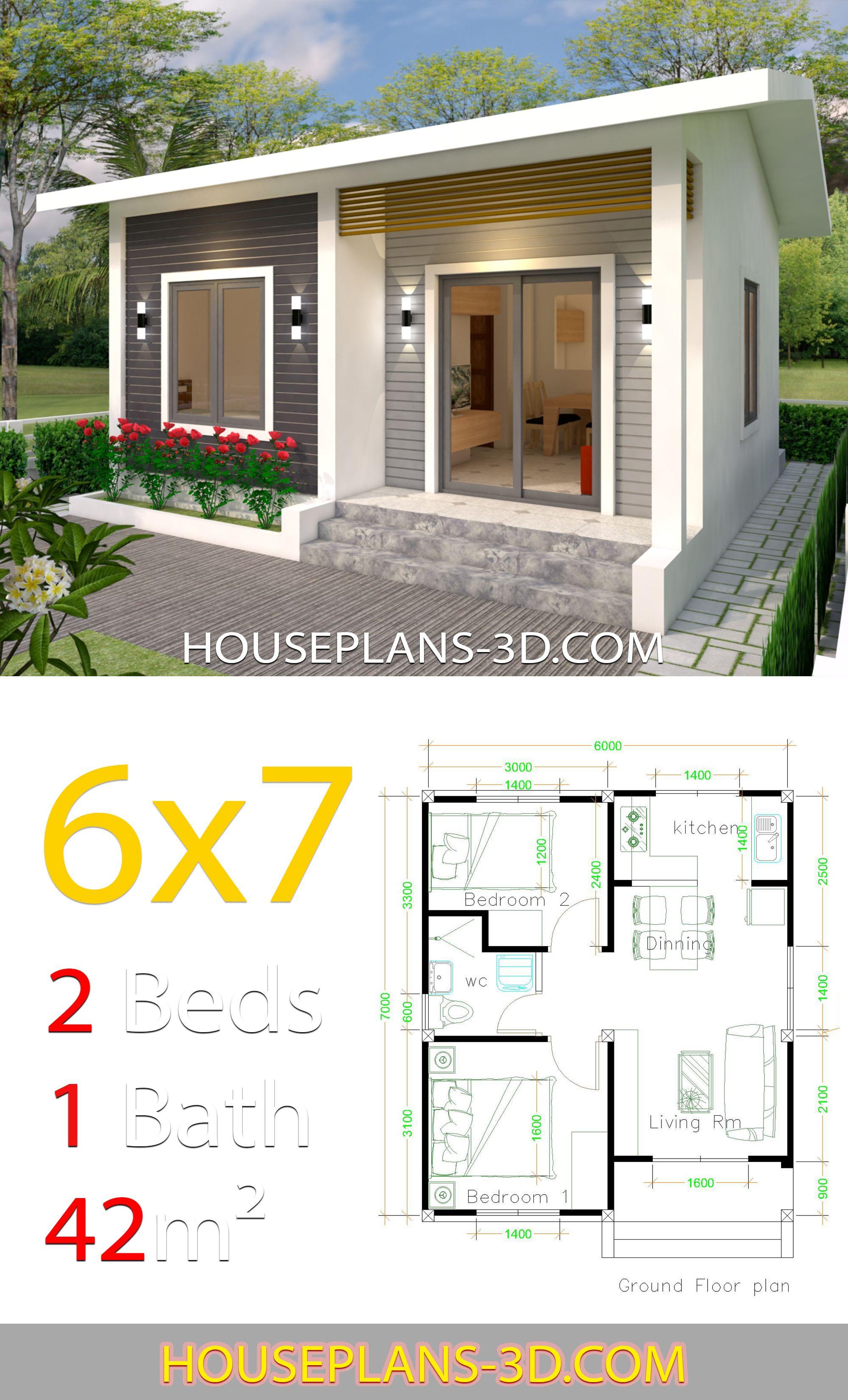 House Design 6x7 With 2 Bedrooms Plan Malenkogo Doma Chertezhi Doma Plany Nebolshih Domov