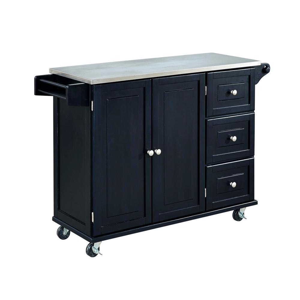 Homestyles Liberty Black Kitchen Cart With Stainless Top 4513 95 The Home Depot White Kitchen Cart Kitchen Cart Black Kitchens
