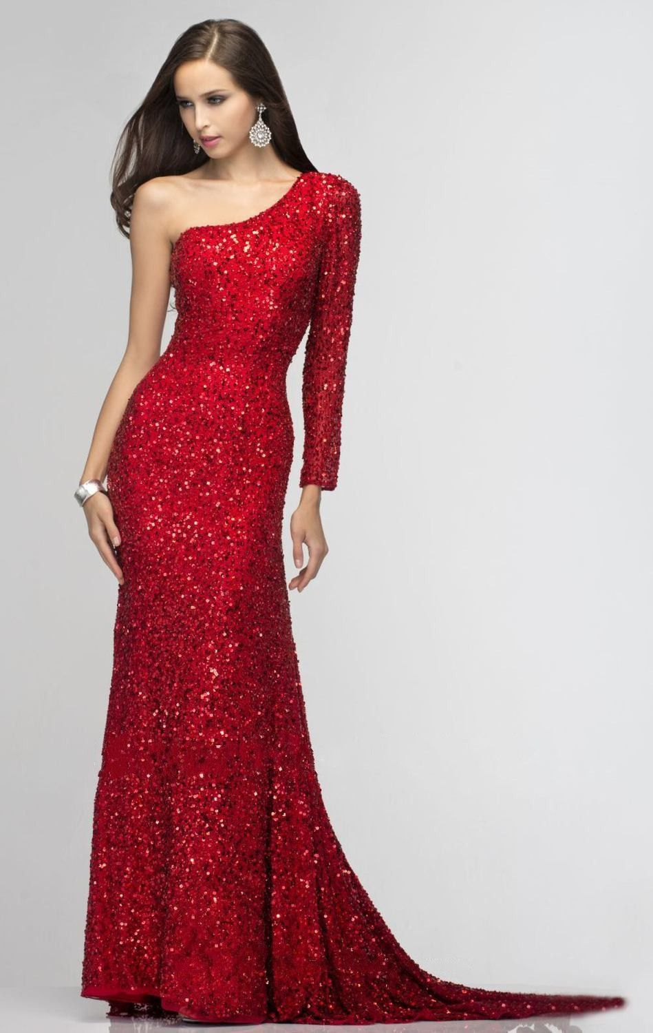Gold silver red sequins beaded one shoulder long sleeve