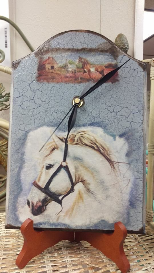 I Just Finished This Clock With Beautiful Horse Rice Paper