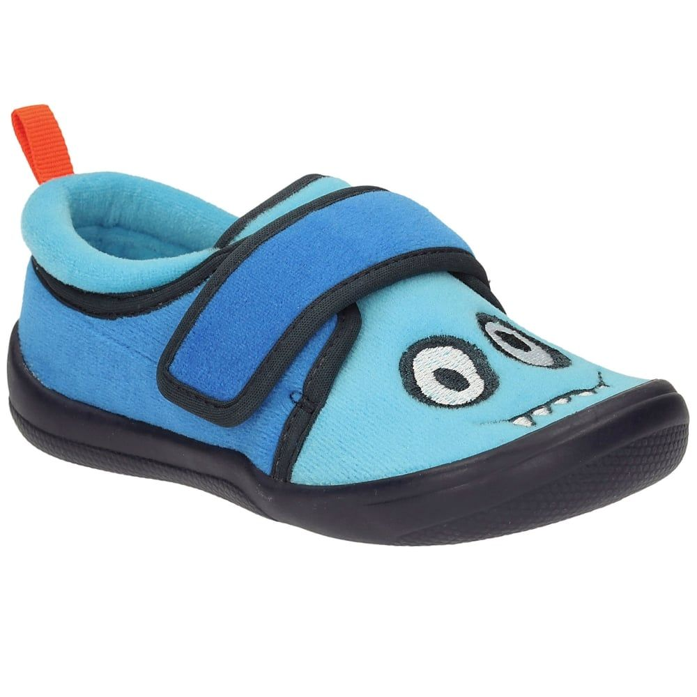 02826893911a Clarks Cuba Rise Boys  Blue Monster Slippers