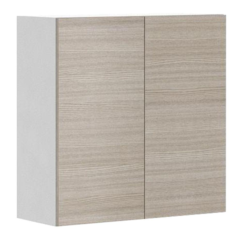 Eurostyle 30x30x12 5 In Geneva Wall Cabinet In White Melamine And Door In Silver Pine W3030 W Genev The Home Depo Wall Cabinet Eurostyle Cabinet Door Styles