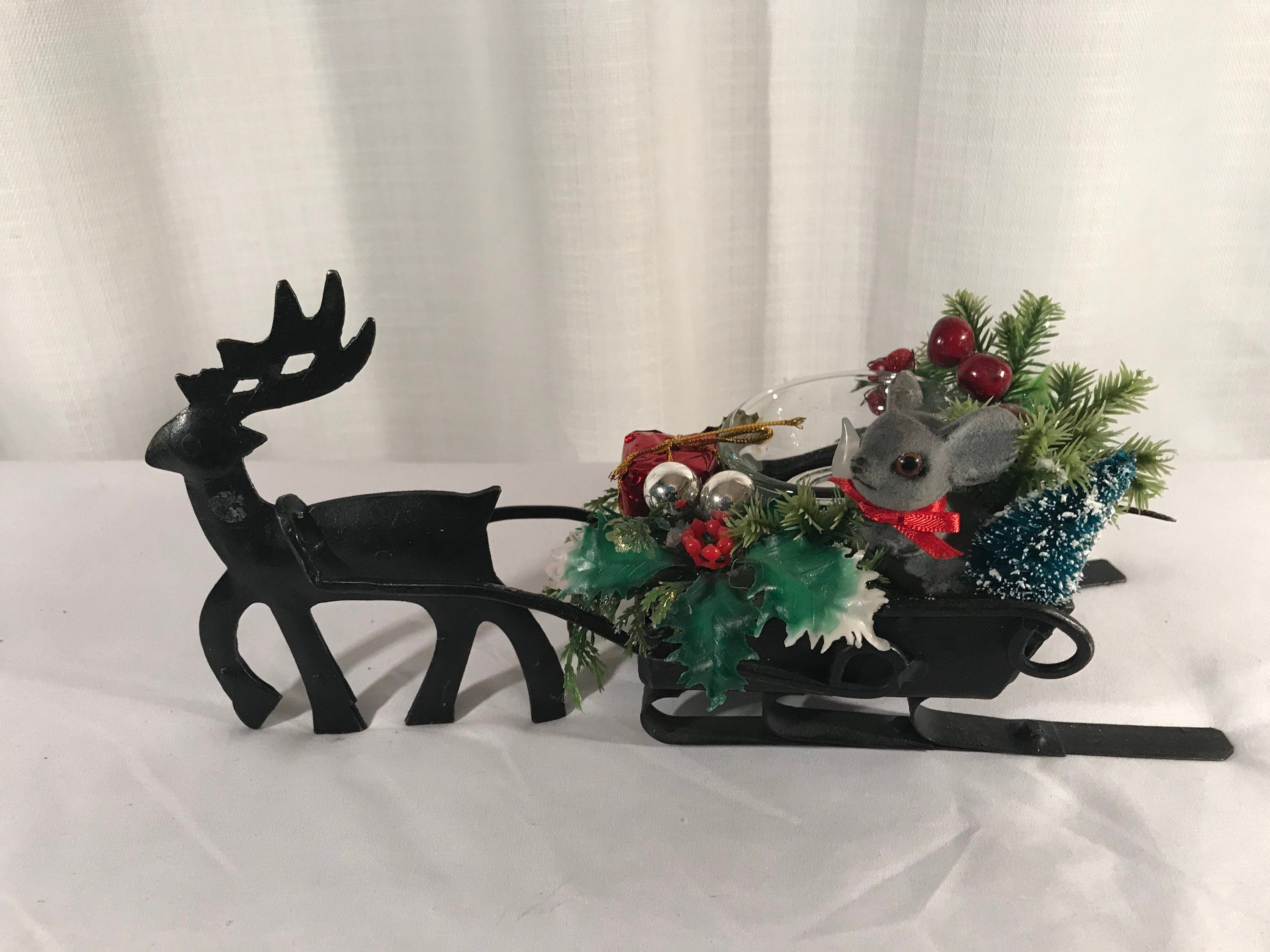Reindeer Center Piece Christmas Decor Vintage One