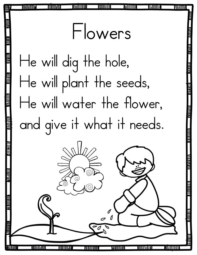 Spring Poems For Beginning Readers Kindergarten Poems Sight Word Reading Shared Reading Poems [ 1056 x 816 Pixel ]