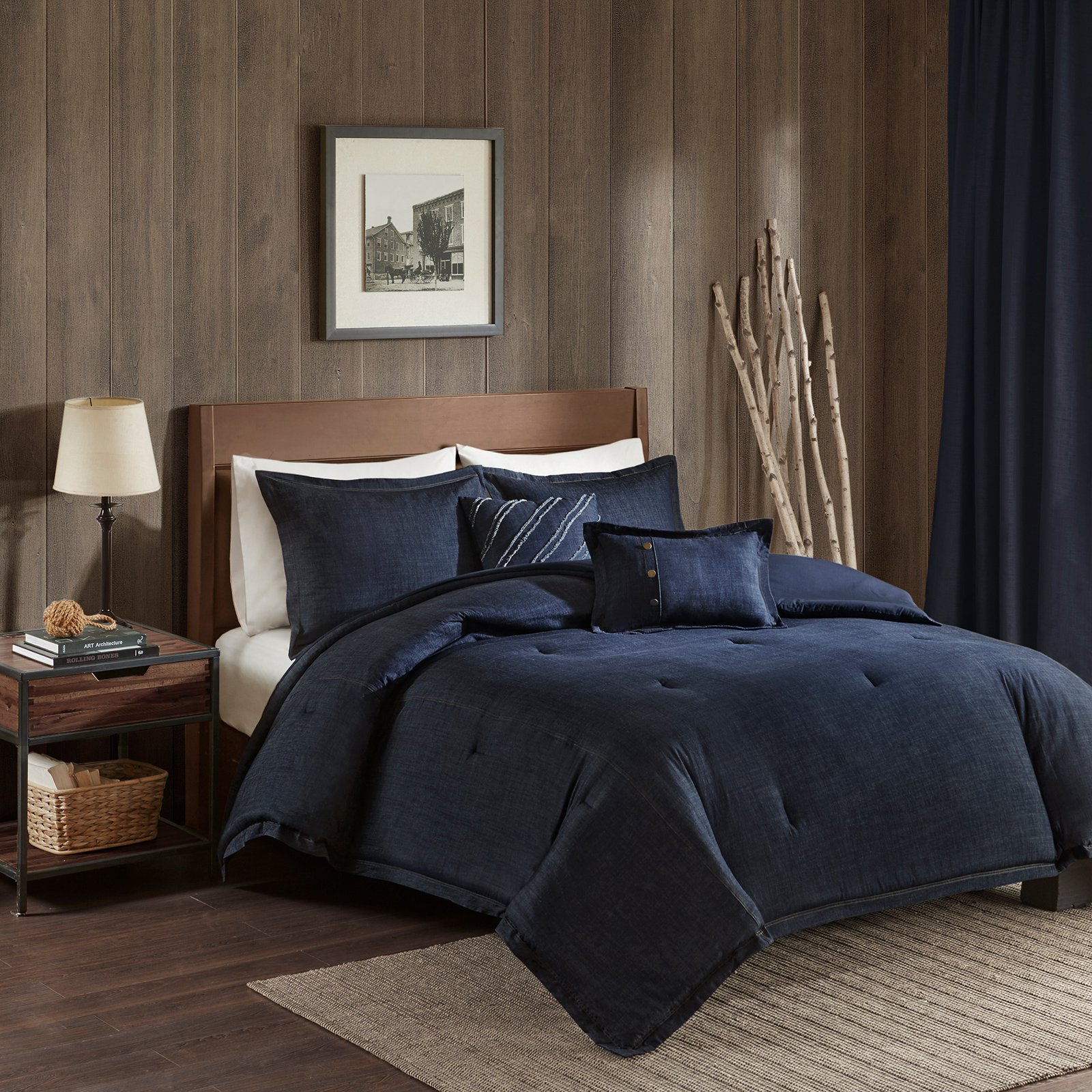 Perry Oversized Cotton Denim Comforter Set By Woolrich Comforter