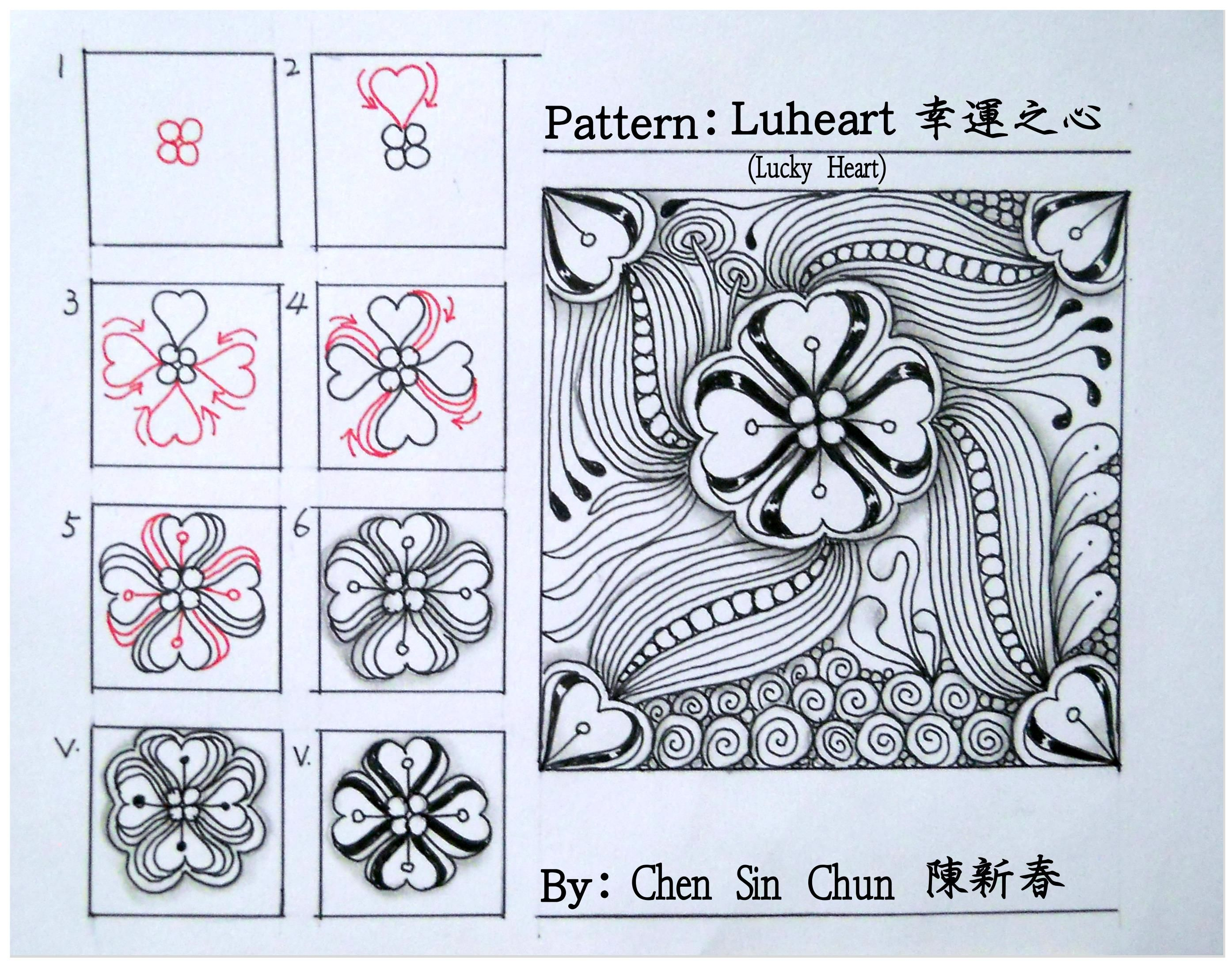 Luheart Zentangle doodles how to Tangle: Pattern Tutorial #Tutorial