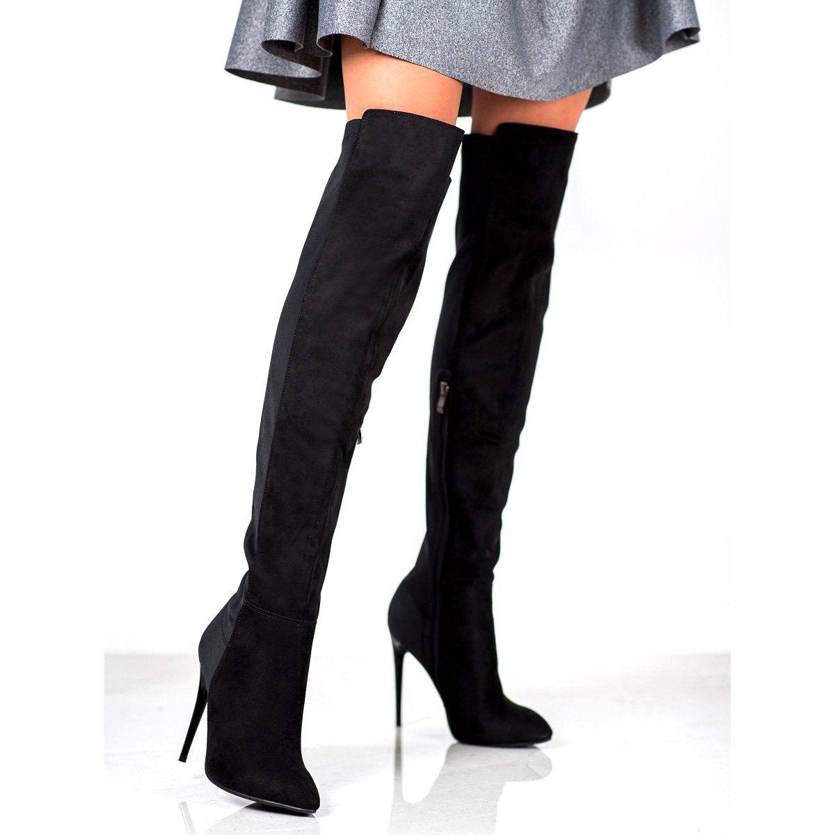 Poti Pati Muszkieterki Na Szpilce Czarne Over Knee Boot Knee Boots Boots
