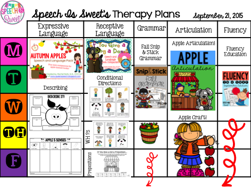 Apple Themed Lesson Plans For Speech And Language Therapy Slp