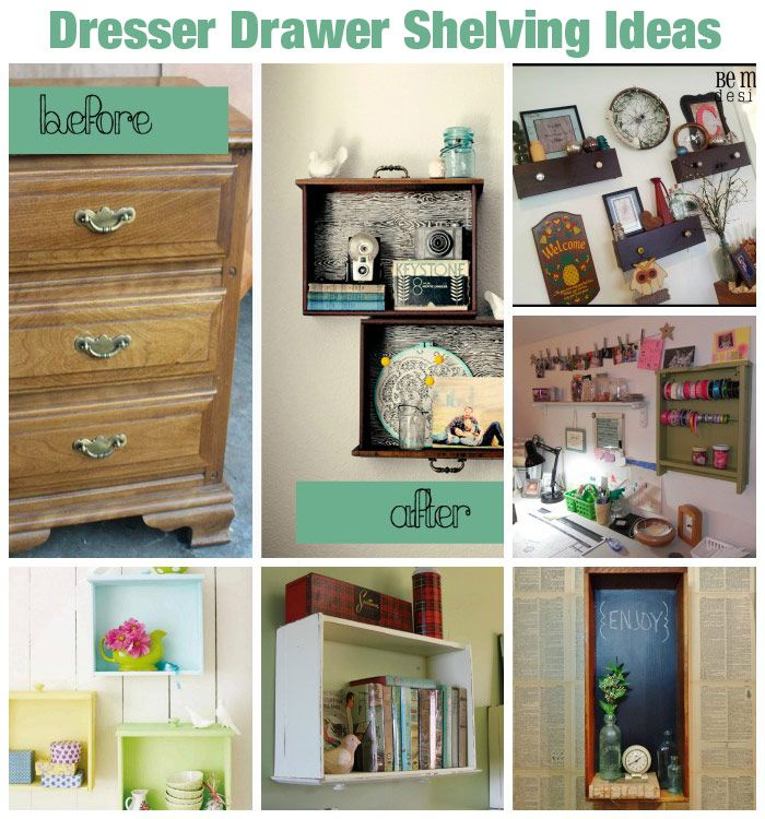 Upcycle Dresser Drawers As Hanging Shelves 10 Ideas Diy