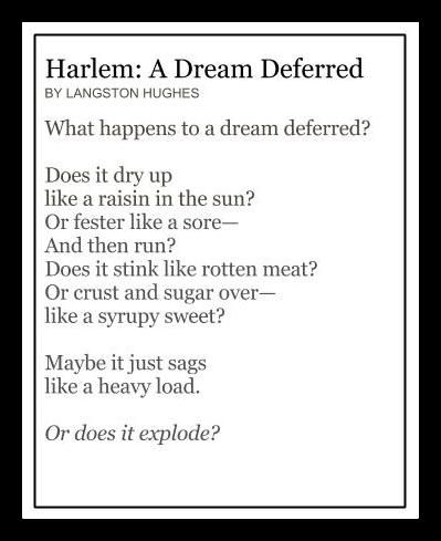a literary analysis of dream deferred by langston hughes Essays and criticism on langston hughes - hughes, langston - (poetry langston hughes american literature analysis hughes's montage of a dream deferred to.