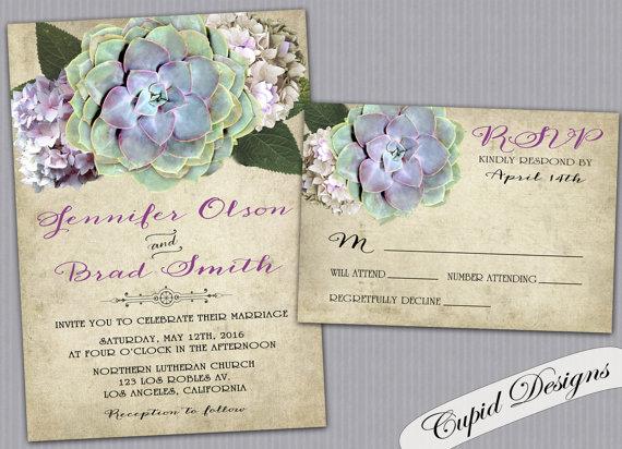 succulent wedding invitations botanical wedding invite rustic