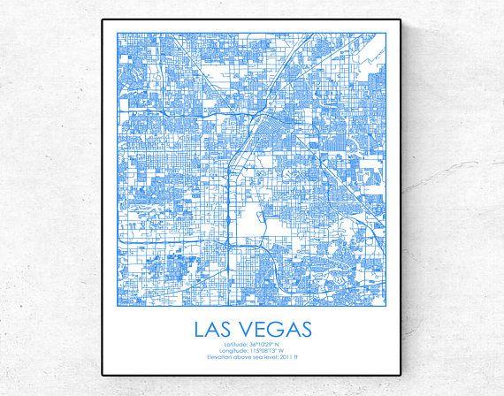 Las Vegas Map Las Vegas Print Las Vegas Poster Nevada Print USA