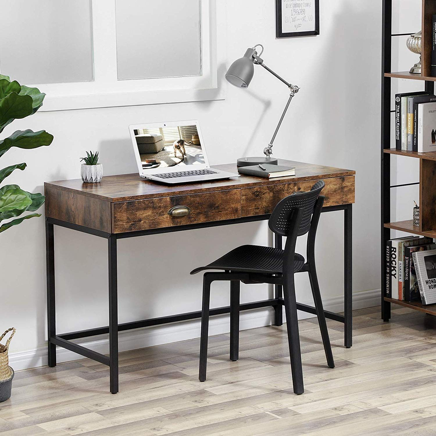 Amazon Com Vasagle Industrial Computer Writing Desk With Drawers Space Saving Study Desk Wi Desk With Drawers Writing Desk With Drawers Computer Table Design