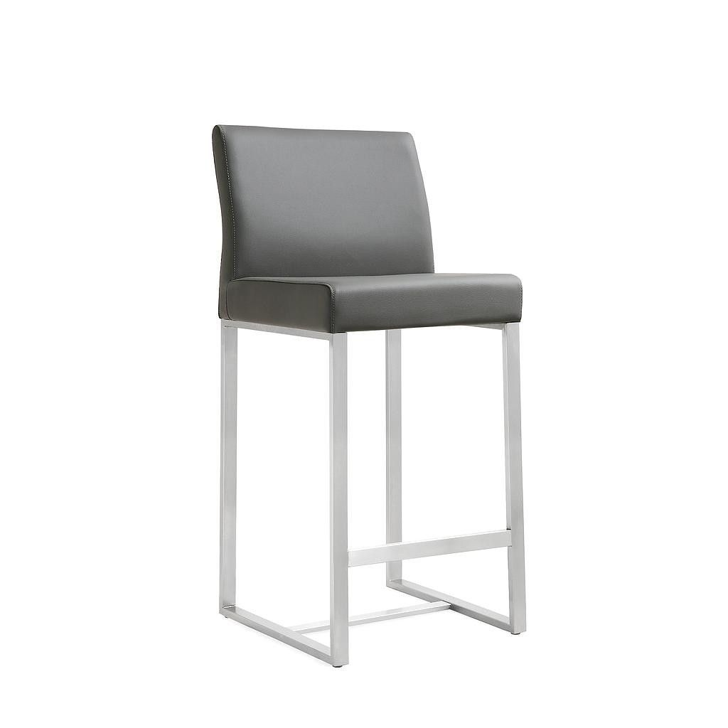Tov Furniture Modern Denmark Grey Stainless Steel Barstool Set Of