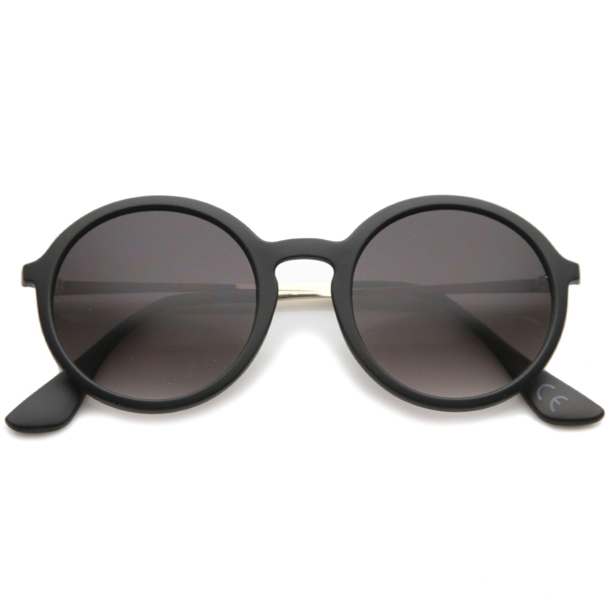 82edfd74372 Mid Size Modern Metal Temple Gradient Lens Round Sunglasses 49mm  sunglasses   sunglass  frame  sunglassla  womens  purple  summer  clear  bold  cateye