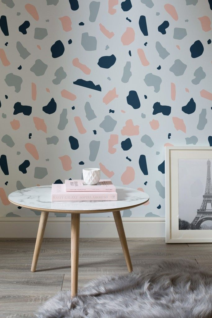 Pink and blue terrazzo wall mural £25 per m² courtesy of murals wallpaper